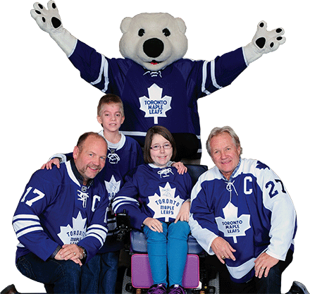 Carlton, Wendel Clark, Daryl Sittler and Easter Seals Ambassadors Brandon and Natalie
